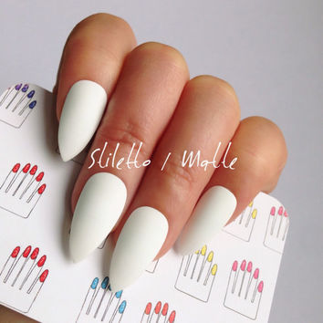 Stiletto, 12pcs, White Hand Painted Nail Tips / Press On / Stick On / Fake Nails - Glossy or Matte