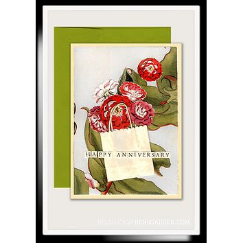 Anniversary Roses Folded Greeting Card