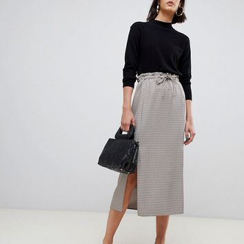 ASOS DESIGN check paperbag midi skirt with splits | ASOS
