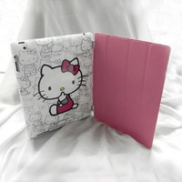 Sitting Hello Kitty Hard Back Case + Pink PU Leather Smart Cover Combo for iPad 2/3 (Free Screen Protector + Hello Kitty Home Stickers)