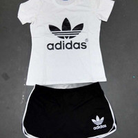 """""""Adidas"""" Fashion Casual Letter Print Round Neck Short Sleeve Set Two-Piece Sportswear"""