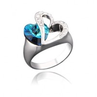 Christmas Gift Double Love Heart of Ocean Silver Tone Ring with Deep Blue Crystal Gift R347