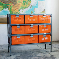 3 x 3 Vintage Locker Basket Unit with Monochrome Natural Steel Finish Drawers and Frame