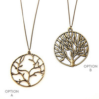 Tree of Life Necklace  //  Long Circle Pendant Necklace //  Long Boho Necklace  //  Tree Necklace  //  Extra Long necklace option