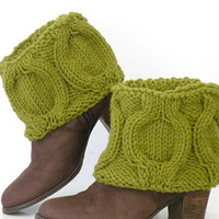 Hand Knit Winter Green Boot Covers, Short Woodland Boot Toppers