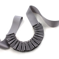 Chunky Grey Crystal Pleated Ribbon Necklace