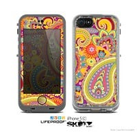 The Neon Orange Paisley Pattern Skin for the Apple iPhone 5c LifeProof Case