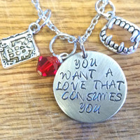 The Vampire Diaries-Delena Hand Stamped Necklace-Damon Salvatore and Elena Gilbert