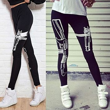 Sandistore Women Print Black Cotton Stretch Stretchy Skinny Leggings Pants (machine gun)