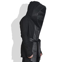 Men personality gothic punk trench coat hooded cloak mens harajuku nightclub DJ stage costume leather woolen patchwork overcoat