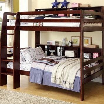 CM-BK613EX Camino collection dark walnut finish wood twin over twin bunk bed with shelves on the side