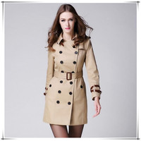 Women Female coat British Long Style Elegant Trench Coat/Designer Belted Double Breasted Trench/Outerwear trench coat KHAKI