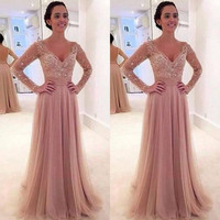 2016 Hot Sale New Style Long Sleeves Pink Girl Prom Dress Sexy V-neck Tulle Beaded Long Formal Evening Gowns D19