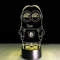 Novelty 3D Minions Night Light LED Table Lamp Touch Desk Lighting Colorful For Child Baby Gift Birthday Party Bedroom Home Decor