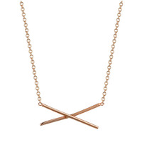 X Necklace 14k Rose Gold
