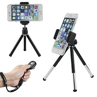 Universal Adjustable Tripod + Wireless Bluetooth Remote – incl. Tripod / Universal Phone Holder / Phone Bag / Microfiber Cloth - Suitable for iPhone, Samsung and Most Other Phones (Bluetooth Remote)
