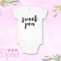 "Cute ""Sweet Pea"" Baby Bodysuit - Newborn Gift - Baby Shower Gift - White with Charcoal Gray"