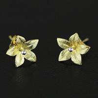 Gold Plated Silver Elegant Flower Earring, 925 Silver Ear Studs, Teenage, Valentine, Bridemaid, Bridal, Wedding