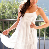 White Embroidered Babydoll Dress