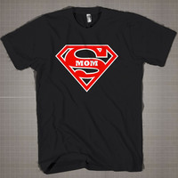 SUPER MOM  Mens and Women T-Shirt Available Color Black And White