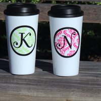 coffee tumbler, insulated coffee cup, personalized coffee cup, stocking stuffer, white coffee tumbler, monogrammed coffee cup, holiday gift