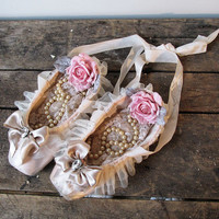Muted pink ballet pointe shoes shabby cottage chic adorned soft dance slippers romantic silk ribbon,roses and rhinestones anita spero design
