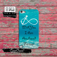 Anchor Blue Love Quote Anchored Forever Cute Custom Case iPod Touch 4th Generation or iPod Touch 5th Generation Rubber or Plastic Case