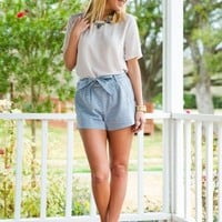 Wrapped Around Your Finger Shorts-Sea Blue - NEW ARRIVALS
