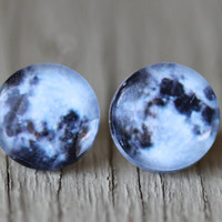 Fake Plugs : Full Moon Studs Moon, Stars, Constellation, Navy Blue and White Stud Earrings, Summer, ArtisanTree
