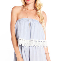 SWEET CHAMBRAY ROMPER WITH LEAF LACE