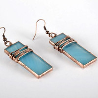 Stained glass handmade earrings Women's jewelry Fashion accessories Gift ideas