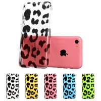 iPhone 5C Case, ESR Animal Kingdom Series Hard Clear Back Cover Snap on Case for iPhone 5C (Leopard)