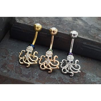 Octopus Belly Button Ring - Silver, Yellow Gold or Rose Gold
