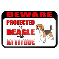 """Beware Protected by Beagle with Attitude 9"""" x 6"""" Metal Sign"""
