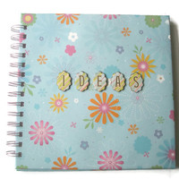 Spiral bound Note book Jottings for your ideas Blue flower paper pretty fresh spring gifts