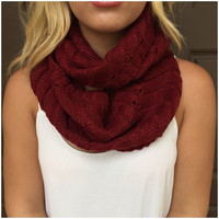 Mix in Merlot Thick Knit Infinity Scarf - Mix in Merlot Thick Knit Infinity Scarf