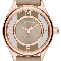 Women's MARC BY MARC JACOBS 'Tether' Skeleton Leather Strap Watch, 25mm - Papyrus Grey/ Rose Gold