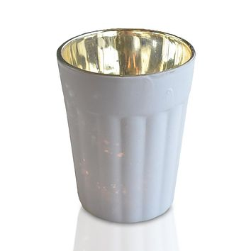 Vintage Mercury Glass Candle Holder (3.25-Inch, Katelyn Design, Column Motif, Antique White) - For Use with Tea Lights - For Home Decor, Parties and Wedding Decorations