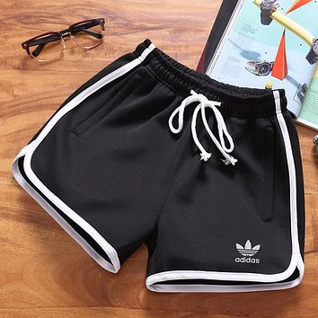 Adidas Women Fashion Print Drawstring Gym Yoga Running Leggings Sweatpants Shorts
