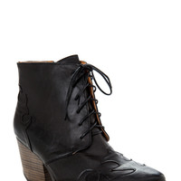 Chunky Lace Up Cowboy Booties