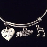 Proud Mom Musical Notes Marching Band Silver Charm Expandable Bracelet Adjustable Wire Bangle Gift Trendy Musician Music teacher Notes Inspired