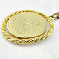 Vintage Mens Astrology Necklace, AQUARIUS Zodiac Necklace, Gold Coin Necklace, Water Bearer Pendant Necklace, 1970s Astrology Zodiac Jewelry