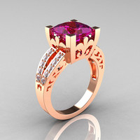 French Vintage 14K Rose Gold 3.8 Carat Princess Amethyst Diamond Solitaire Ring R222-RGDAM