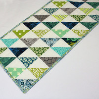 Modern Quilted Table Runner, Half Square Triangle Runner in Blues, Green and Taupe, Quiltsy Handmade Table Runner Quilt