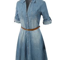 LE3NO Womens Casual Chambray Denim Flared Shirt Dress with Belt (CLEARANCE)