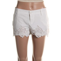 Lucky  Brand Womens Poplin Lace Trim Casual Shorts