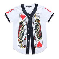 Cloudstyle 2018 New Fashion 3D Baseball Jersey Poker King Queen 3D Print Shortsleeve Baseball Tshirt Tracksuits Tops Summer