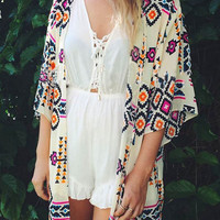 Geometric Print Blue and White Kimono
