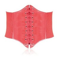 HOTER Black Lace-up Corset Style Elastic Cinch Belt -DARK RED