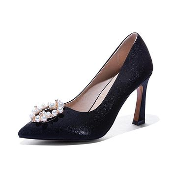 Girls's Chunky Heel Pumps Wedding Shoes High-heeled Shallow-mouth